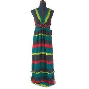 eci new york womens maxi dress beaded v neck new